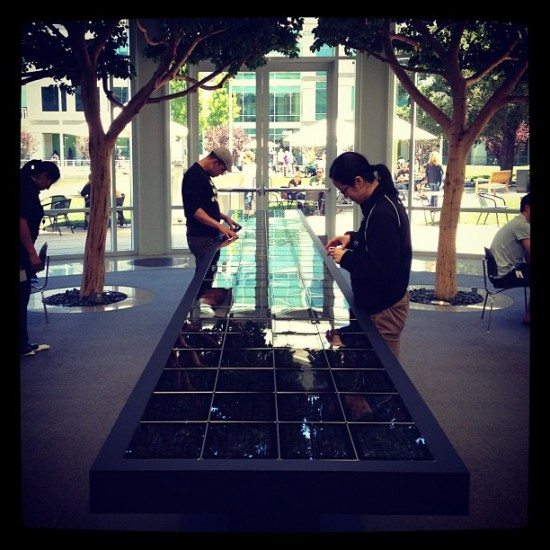 The Hyper Table on display inside the Apple HQ atrium.