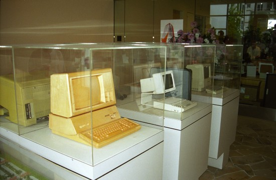 A small museum of old Apple computers