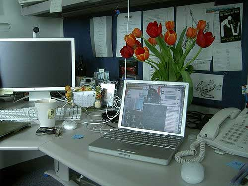 An employee office from several years ago at Apple HQ