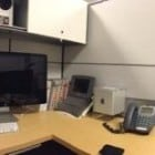 A panorama shot of an employee desk at Apple HQ