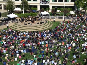 "The grassy area between the primary campus buildings is called ""the Quad."" Concerts are sometimes held here for employees, along with other events like the annual ""Beer Bash."""