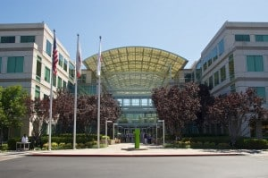 Outside the main entrance at Apple Headquarters