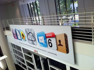 An iCloud banner erected (in the same space as the 3 photos above) to promote the storage service's arrival