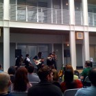 Apple HQ lunch break concert featuring band The Silent Comedy