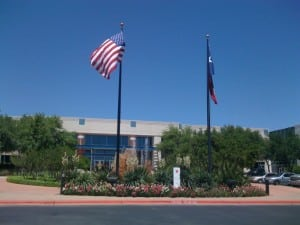The front entrance at the Austin Operations Center.