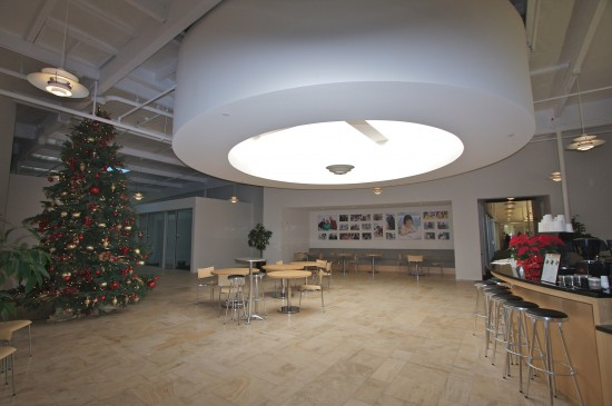 A large Christmas Tree decorates the Break Room during the holidays.