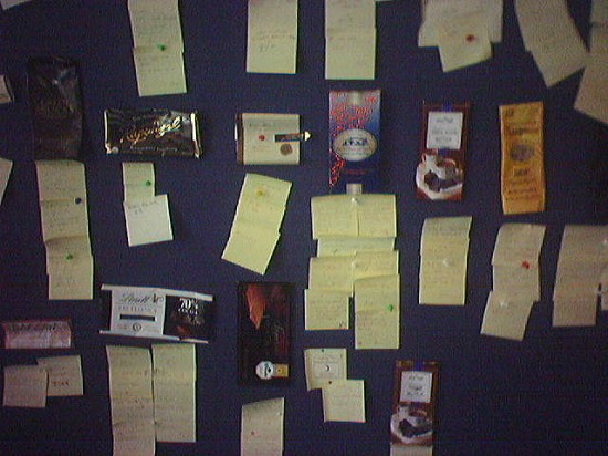 Another picture from '05, from an unknown part of the campus. This bulletin board was used by employees to rate different kinds of chocolate. Just for fun.