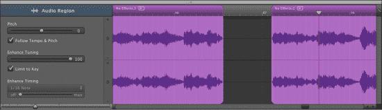 Cutting and editing in Garageband 2