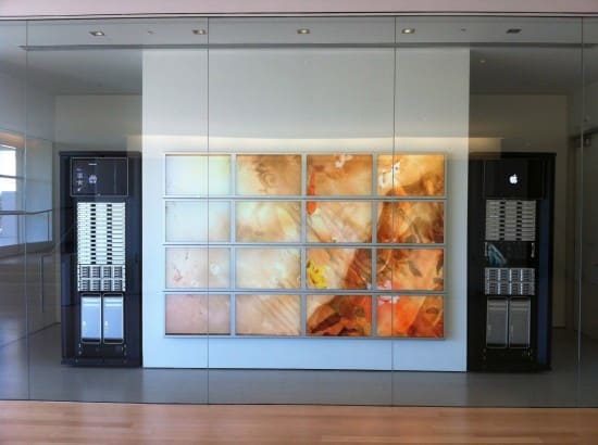 Apple HQ Executive Business Center: a wall of flatscreens surrounded by servers