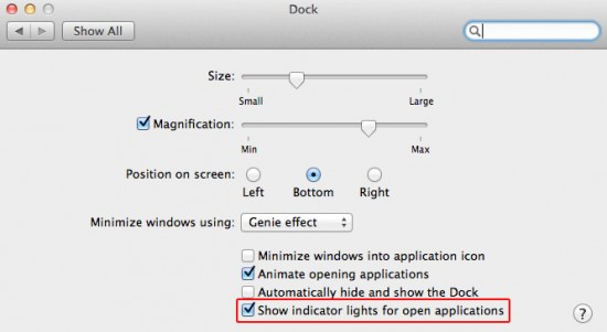 Dock options in System Preferences