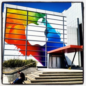 The Yerba Buena Center for the Arts, decorated for the iPad 3 event