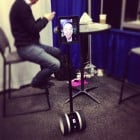 A teleconferencing, remote-controlled robot.
