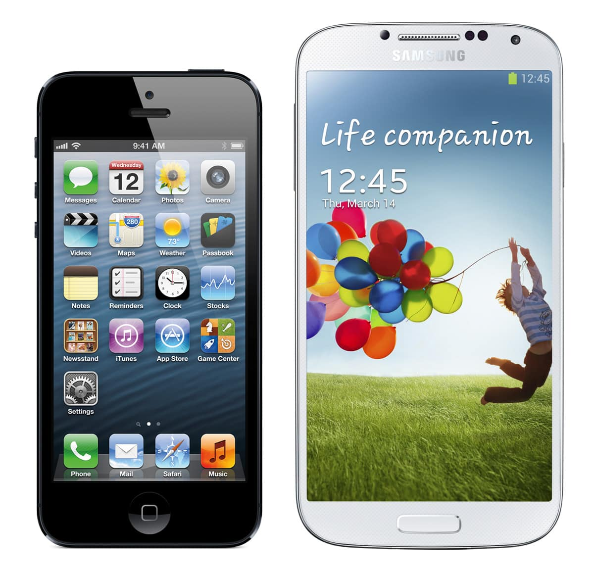 A to-scale comparison of the iPhone 5 and Galaxy S 4.