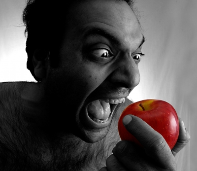 man-red-apple