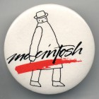 """Mister Macintosh"" pin design by Folon. [Image courtesy of DigiBarn Computer Museum.]"