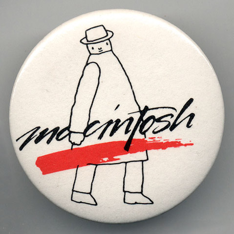 """Mister Macintosh"" pin design by Folon.