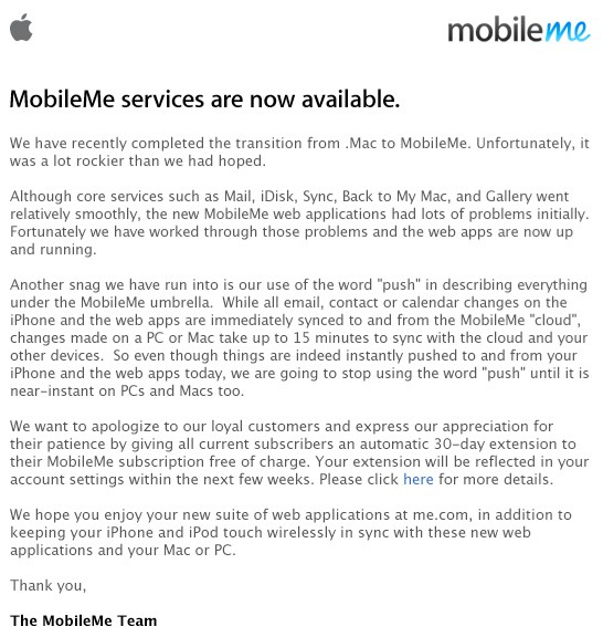 Apple issues MobileMe apology, adds 30 days to existing
