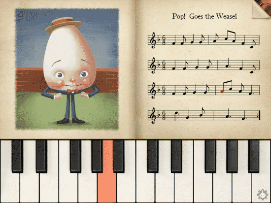 "The app helps you play ""Pop Goes the Weasel"" for yourself."
