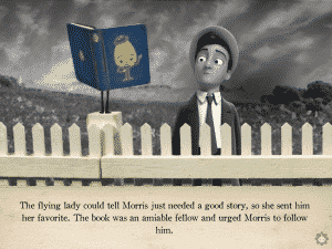 Morris' personality becomes more pronounced when he meets a living book.