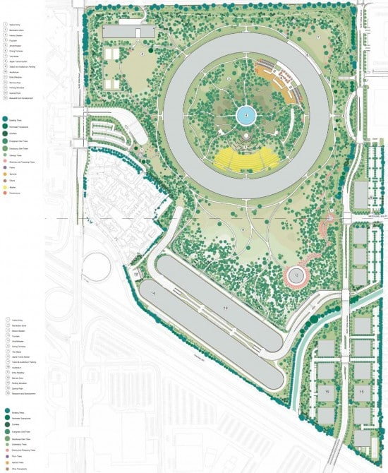 New Detailed Renders & Plans of Apples Wheel-Shaped Campus: Grounds - Schematic