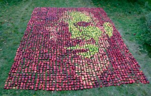 Steve Jobs portrail made of 3,750 apples