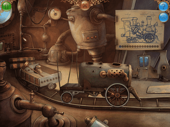 A clever puzzle where you have to piece together a train engine