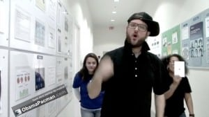 Screengrab from a fake training video filmed in an Apple Store back-of-house
