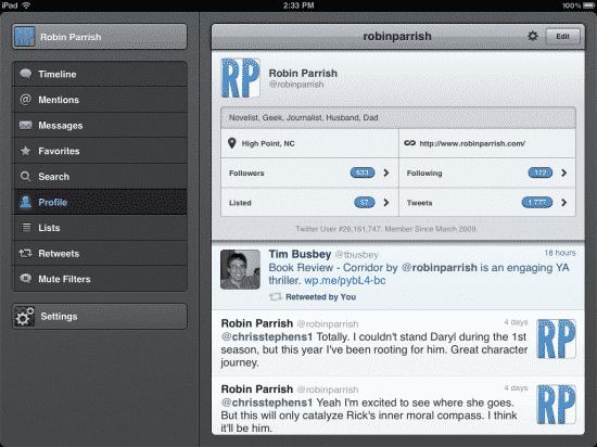 Tweetbot for iPad - profile screen