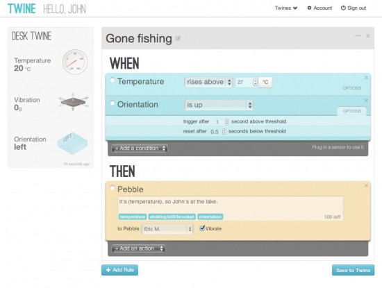 Twine's web app interface