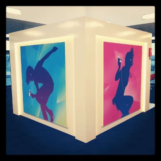 "A giant ""iTunes Cube."" Purely decorative? Dunno."