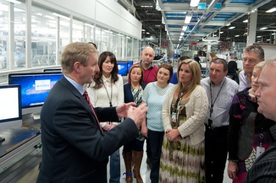 An Irish politician visits Apple Europe and gets a tour of what looks like a lab.